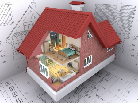 3D isometric view the residential house on architect's drawing. Background image is my own. photo