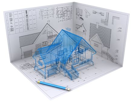 3D isometric view the residential house on architect's drawing. Background image is my own. Stock Photo