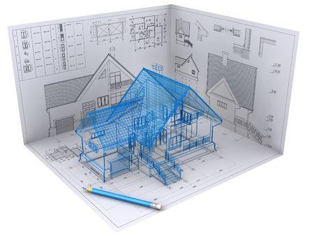 fachadas de casa: La vista 3D isom�trica de la casa residencial de los arquitectos de dibujo. Imagen de fondo es la m�a. Foto de archivo