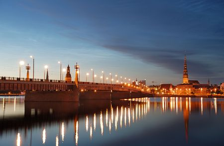 Quay of Daugava river in Riga, Latvia.