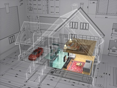 3D isometric view the residential house on architect drawing. Background image is my own.
