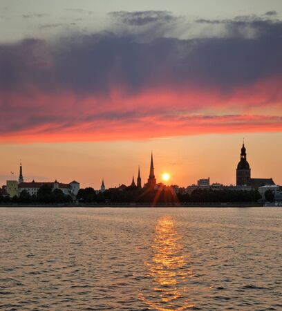 Panorama of Old Riga on early in morning. photo