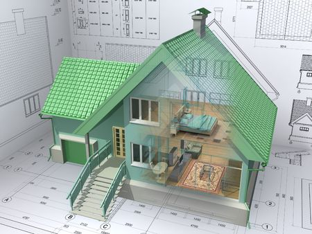 maquette: 3D isometric view the residential house on architect drawing. Background image is my own.