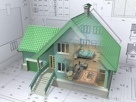 fachadas de casa: La vista 3D isom�trica de la casa residencial en la elaboraci�n arquitecto. Imagen de fondo es la m�a. Foto de archivo
