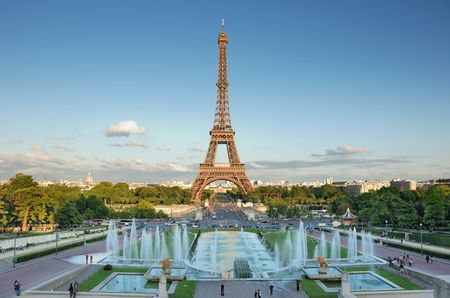 The Eiffel Tower seen from Trocadero, Paris, France.