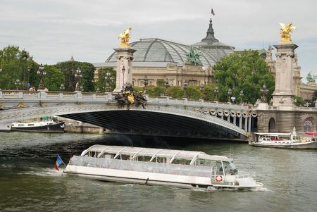 iii: Grand Palace and Alexander III bridge in Paris, France. Stock Photo