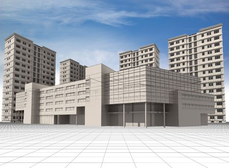 Abstract 3D modern architecture: wire-frame of office building and apartment houses.