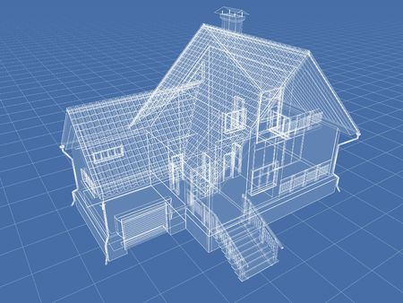 rendered: Abstract architectural 3D drawing of apartment house on blue.