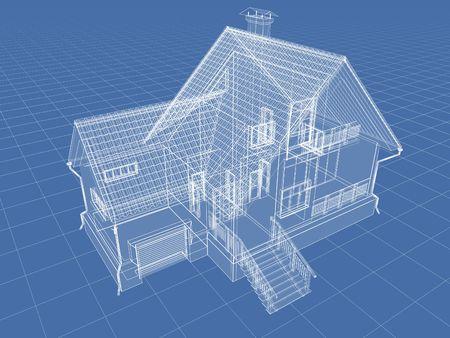 Abstract architectuur 3D tekening van appartement huis op blauw. Stockfoto