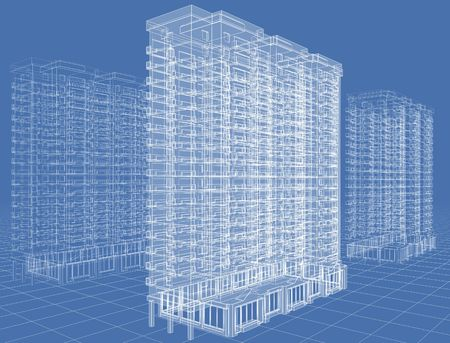 highrise: Abstract architectural 3D drawing of many-storeyed building on blue. Stock Photo