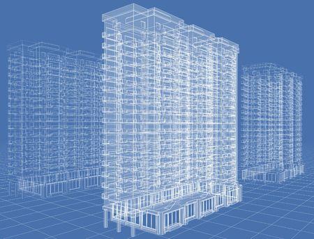Abstract architectural 3D Zeichnung des n-stöckige Gebäude auf blau. Standard-Bild - 5947654