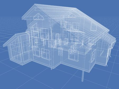 apartment abstract: Abstract architectural 3D drawing of apartment house on blue.