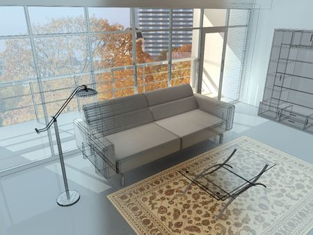 maquette: Abstract private apartment 3d rendering. Photo behind a window my own.