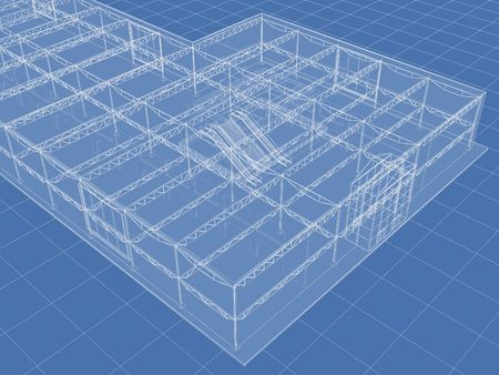 Abstract architectural 3D drawing of industrial building on blue. Stock Photo - 5988162
