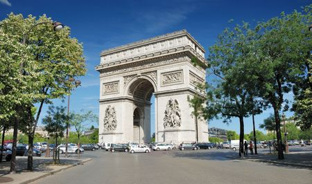 The Triumphal Arch (Arc de Triomphe) in Paris, France.