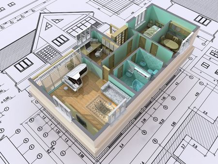 3D isometric view the cut residential house on architect�s drawing. Background image is my own. photo