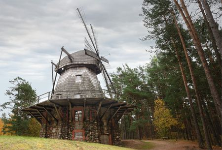 Windmill in ethnographic open-air museum in Riga, Latvia.  photo