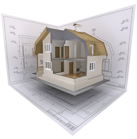 3D isometric view the cut residential house on architect's drawing.