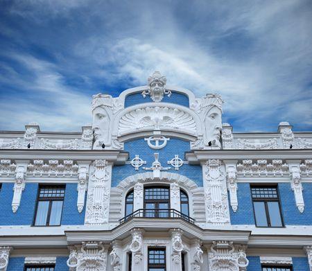 Fragment of Art Nouveau style (Jugenstil). The architect is M. Eisenstein, Riga, Latvia. photo