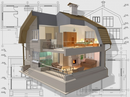 maquette: 3D isometric view the cut residential house on architect�s drawing.