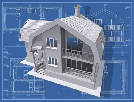 3D isometric view of residential house on architect's drawing. Stock Photo - 6241492