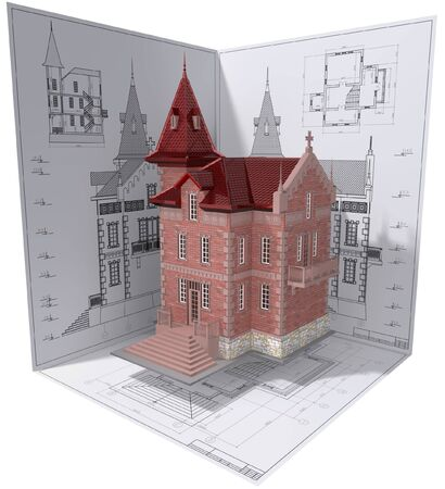 maquette: 3D isometric view of residential house on architects drawing.