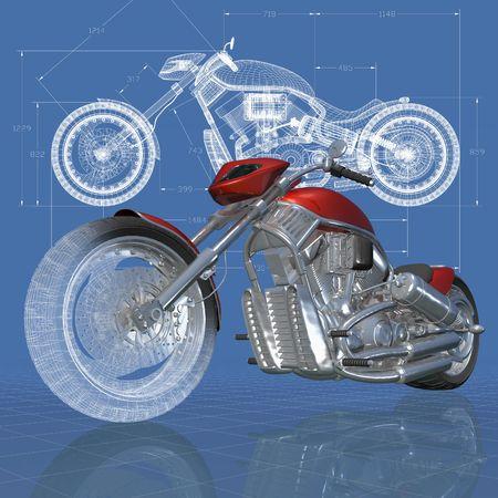 maquette: 3D isometric view of motorcycle on the engineers drawing.