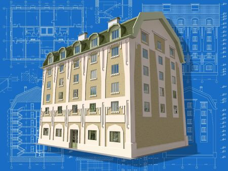 maquette: 3D isometric view of residential house on architect's drawing.