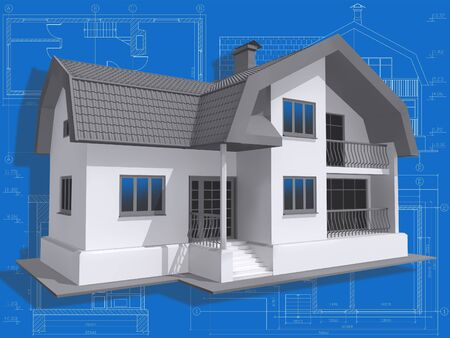 3D isometric view of residential house on architect's drawing. Stock Photo - 6340283