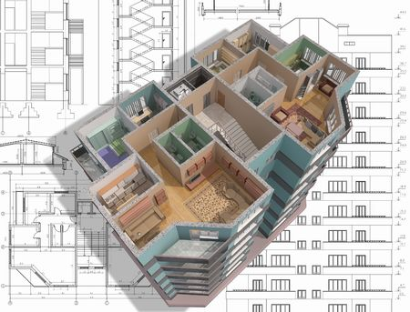 rendered: 3D isometric view the cut residential house on architects drawing.