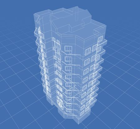 Abstract architectural 3D drawing of apartment house on blue.
