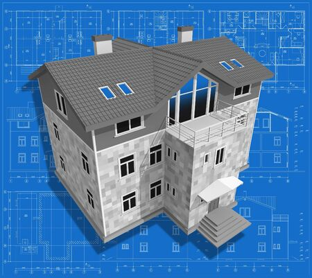 maquette: 3D isometric view of residential house on architect�s drawing.  Stock Photo