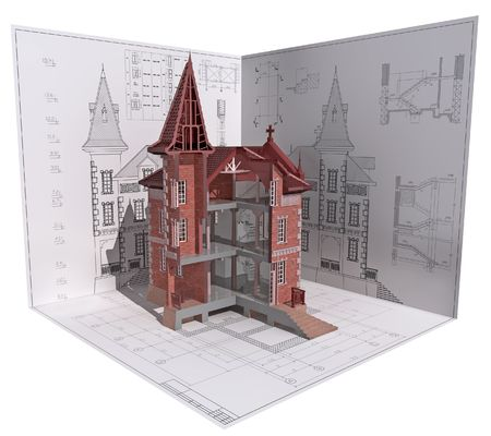 maquette: 3D isometric view of the cut building on architects drawing.