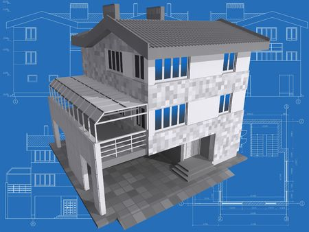 3D isometric view of residential house on architect drawing. Stock Photo - 6527661