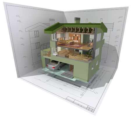 maquette: 3D isometric view of the cut residential house on architect drawing.