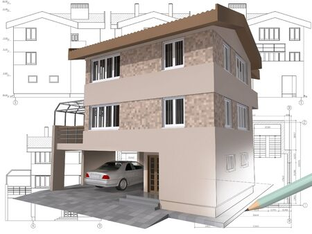 3D isometric view the residential house on architect drawing. photo