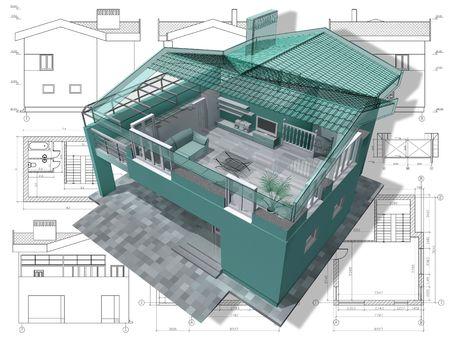 Abschnitt Wohnhaus auf Architekten zeichnen. Standard-Bild - 6566701