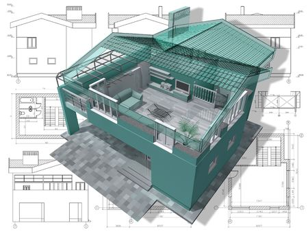 Section of residential house on architect drawing. photo