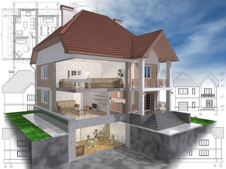 3D isometric view of the cut residential house on architect drawing. photo