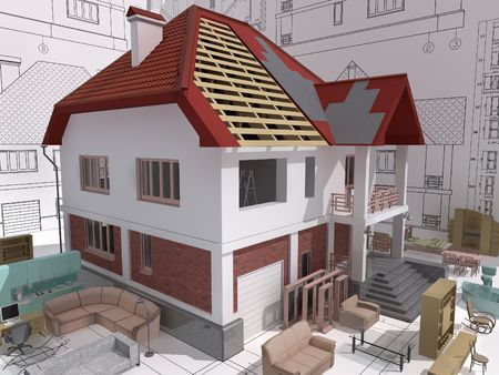 3D isometric view of the residential house during building and repair.