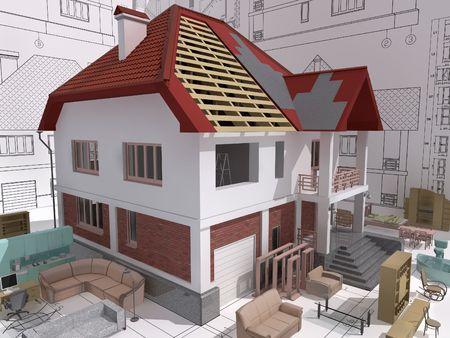 isom�trique: Vue isom�trique 3D de la maison r�sidentielle pendant la construction et de r�paration. Banque d'images