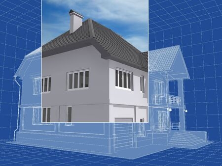3D isometric sketch of the residential house. Stock Photo - 6735053