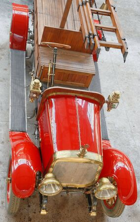 antiquarian: The Russian antiquarian fire-engine car  Stock Photo