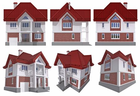 maquette: Six views of the 3D residential house over white Stock Photo