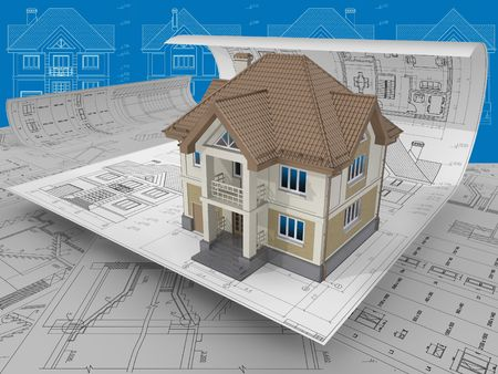 3D isometric view the residential house on architect drawing. Standard-Bild