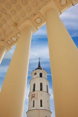 Vilnius Cathedral bell tower in Vilnius, Lithuania. Stock Photo