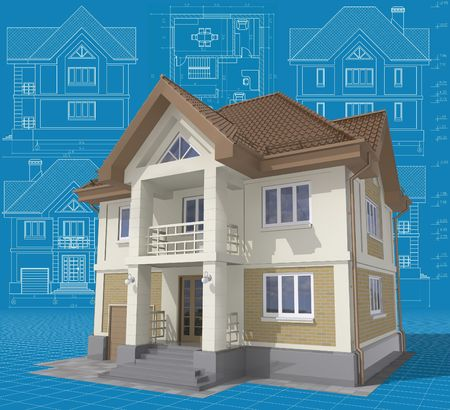 3D isometric view of the residential house on architect drawing. Stock Photo - 7006598