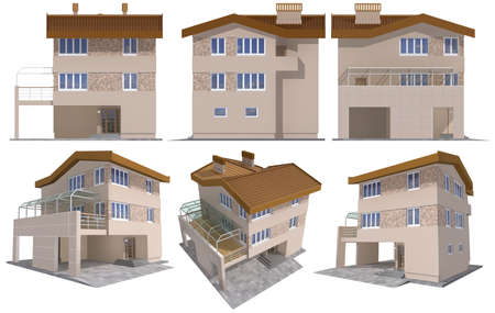 flat roof: Six views of the 3D residential house over white
