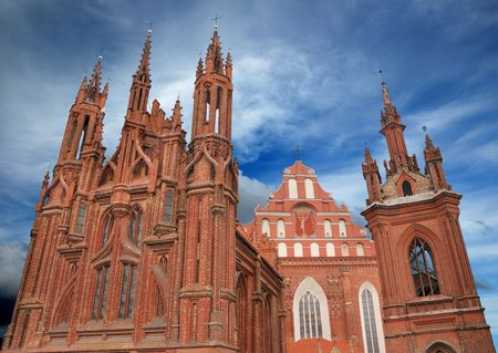St. Annes Church and Bernardine Monastery in Vilnius, Lithuania.  Stock Photo