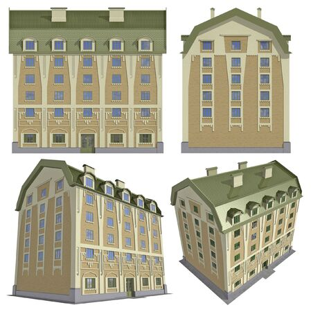 maquette: Four views of the 3D residential house over white  Stock Photo
